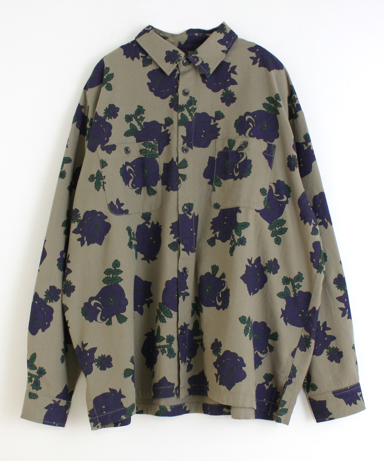 B2529 Creepy Flower BIGシャツ